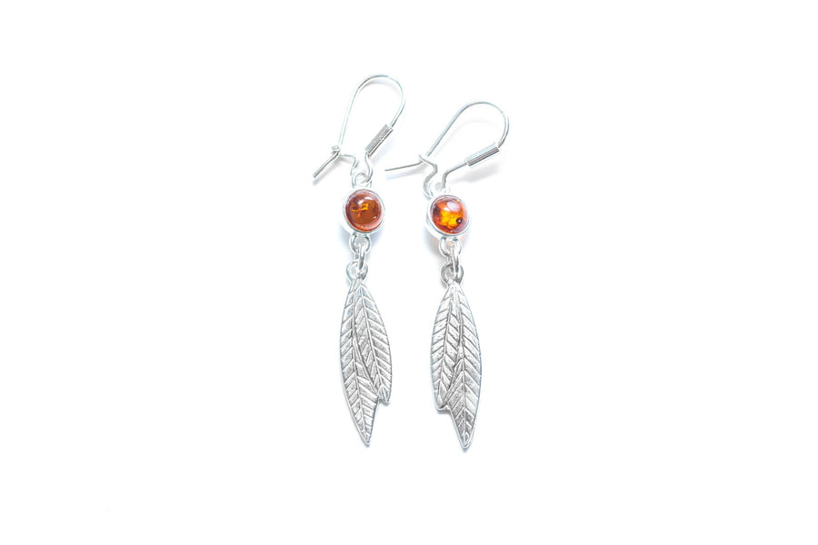 Amber Boho Feather Earrings