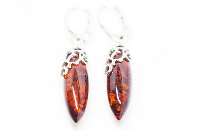 Baltic Beauty Earrings Amber Bullet Dangle Earrings