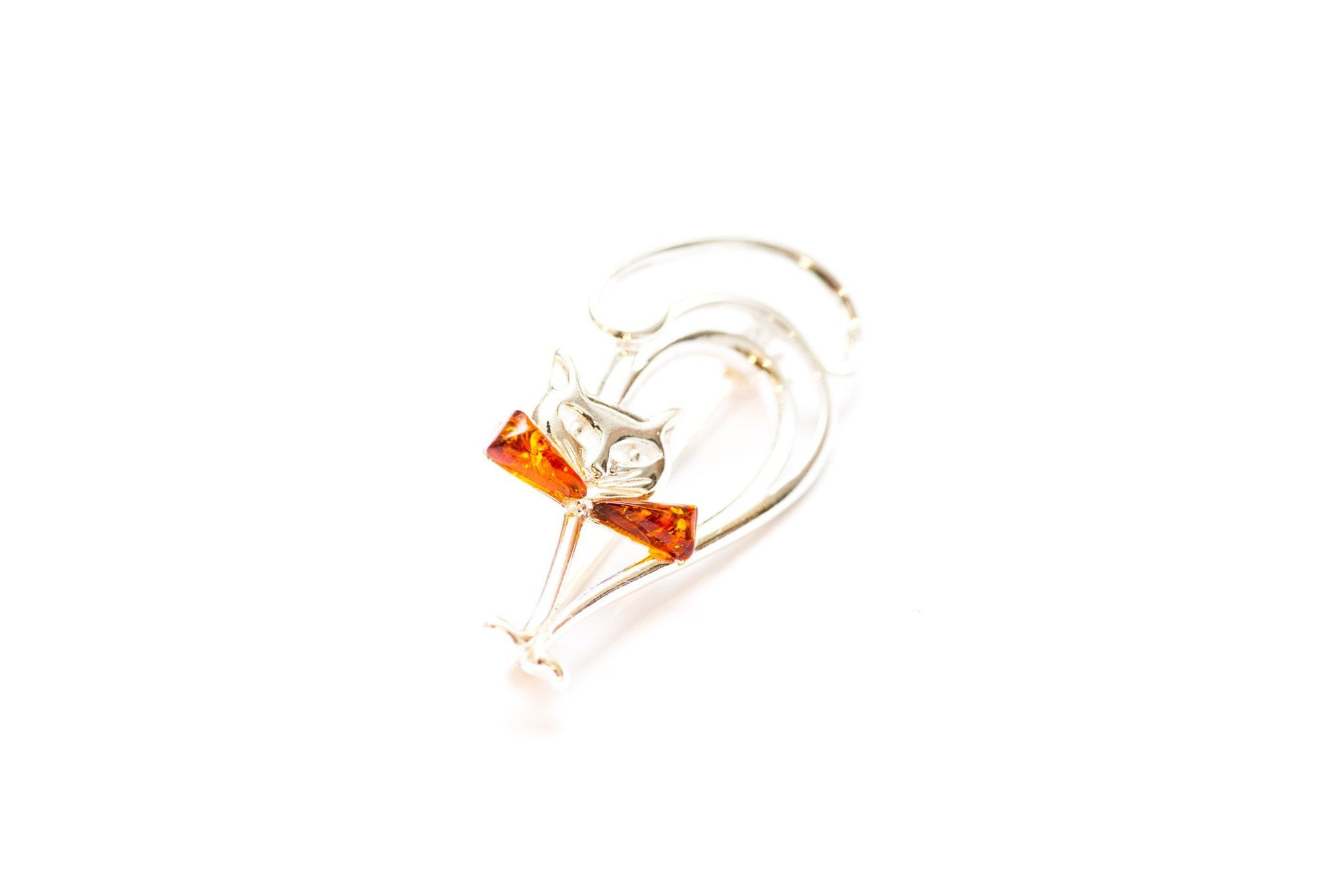 Brooches 925 Sterling Silver /& Baltic Amber Cat Brooch