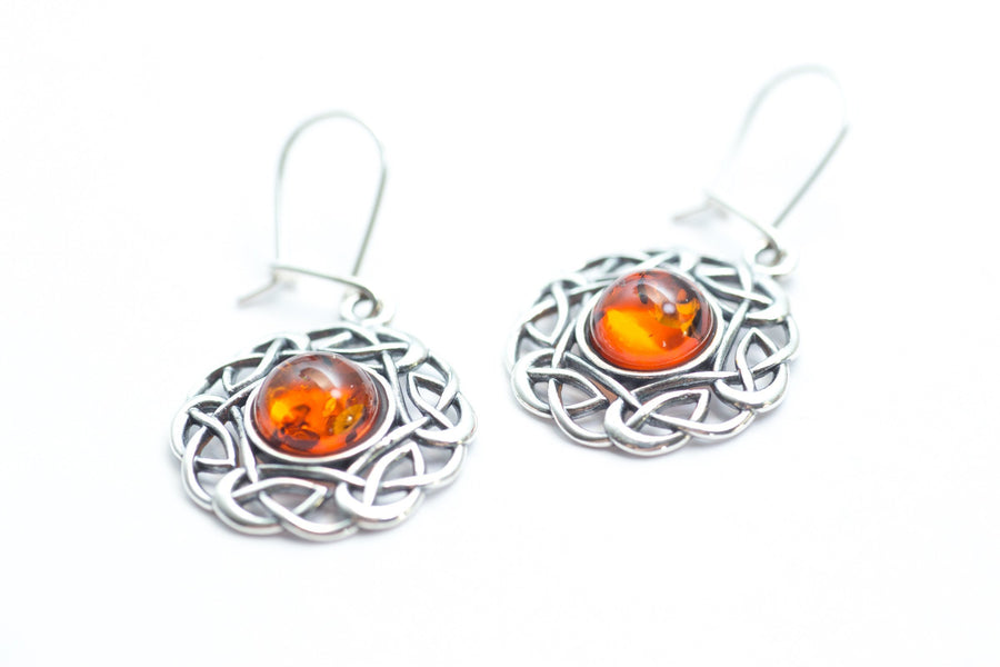 Amber Celtic Pattern Earrings