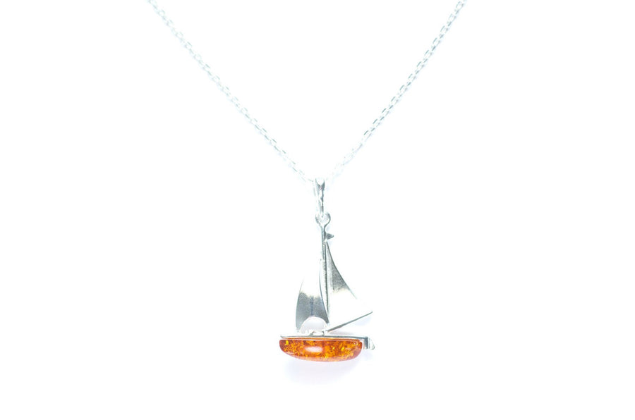 Amber Sailboat Pendant