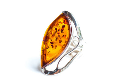 Baltic Beauty Rings Amber & Silver Cuff Ring
