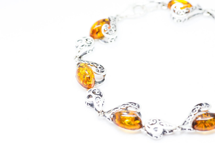 Baltic Beauty Bracelets Amber & Silver Filigree Heart Bracelet