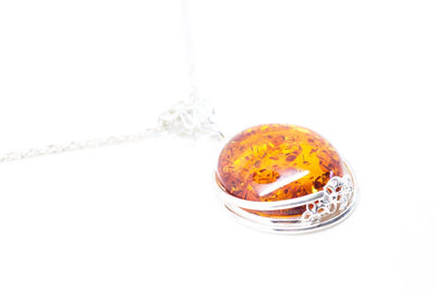 Baltic Beauty Pendant Amber & Silver Floral Detail Pendant