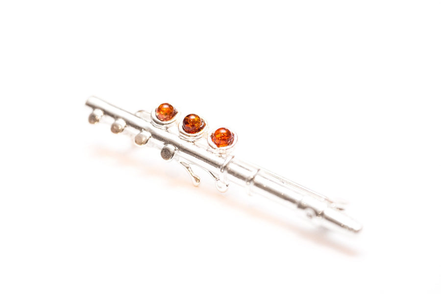 Baltic Beauty Brooches Amber & Silver Flute Brooch