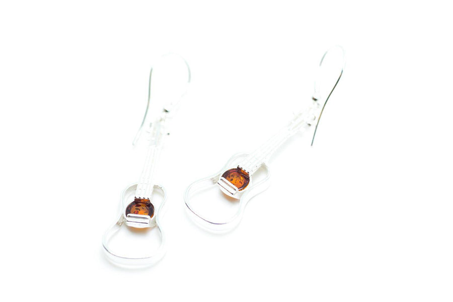 Amber & Silver Guitar Earrings