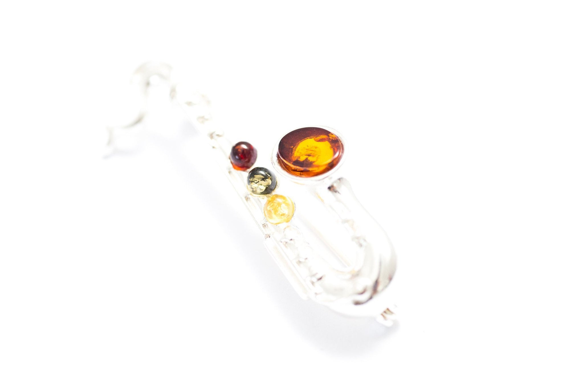 Baltic Beauty Brooches Amber & Silver Saxophone Brooch