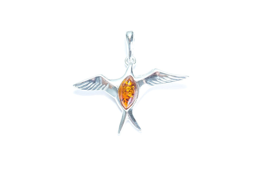 Amber & Silver Sparrow Pendant