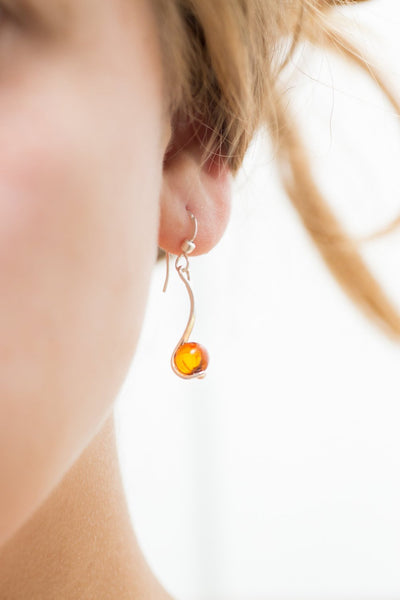 Baltic Beauty Earrings Amber & Silver Sphere Drop Earrings