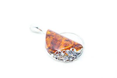Baltic Beauty Pendant Amber Slice Floral Pendant