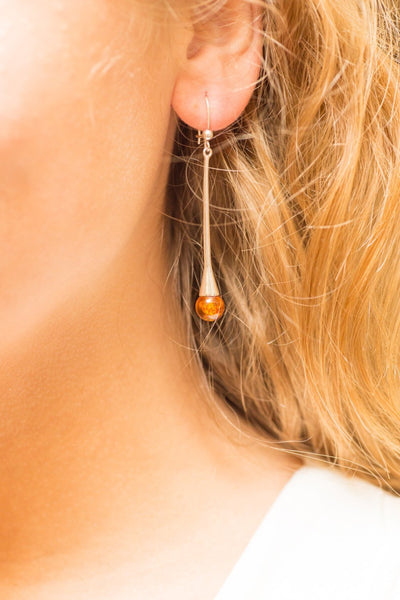 Baltic Beauty Earrings Amber Sphere Rod Earrings