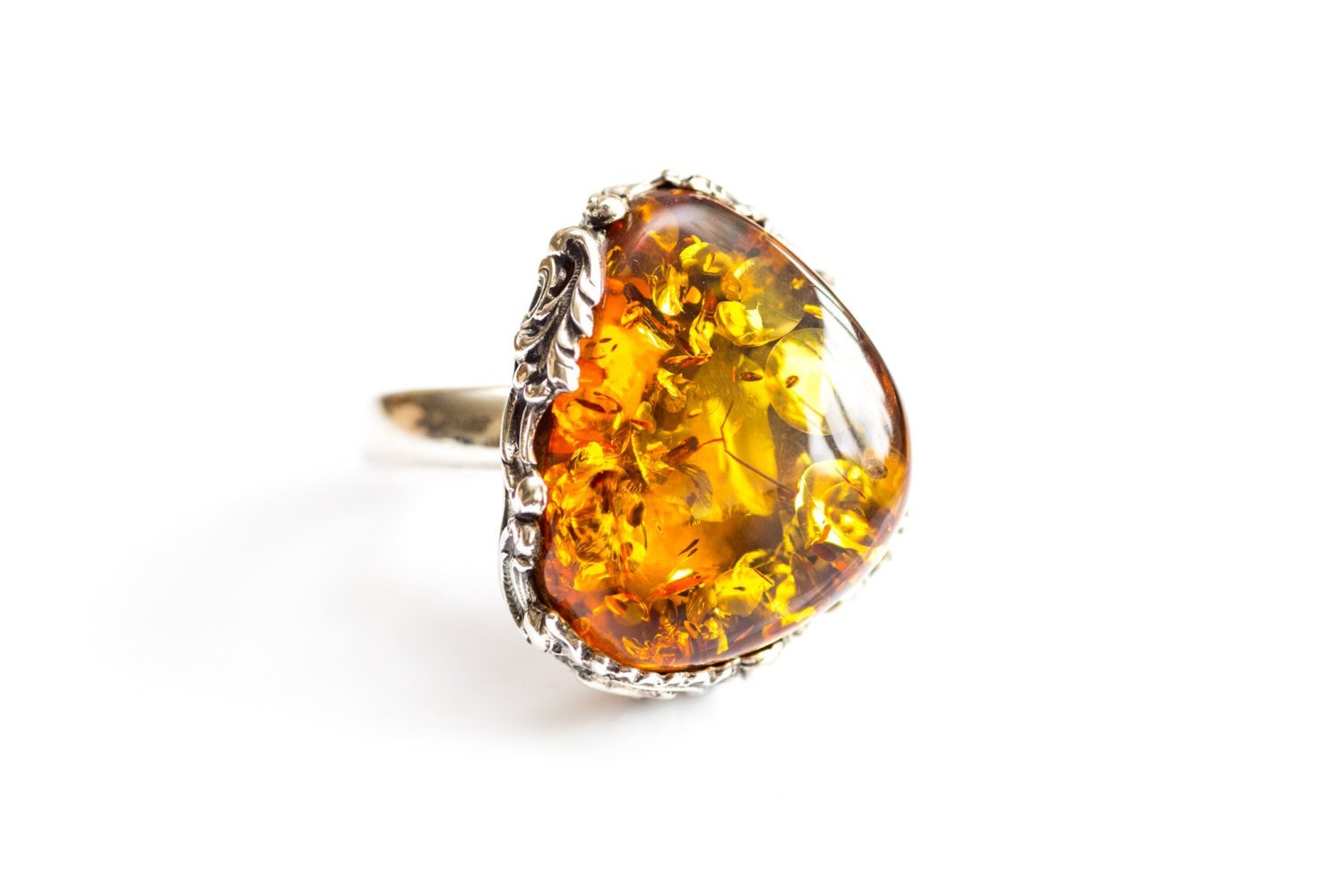 Baltic Beauty Rings Antique Floral Frame Amber Ring