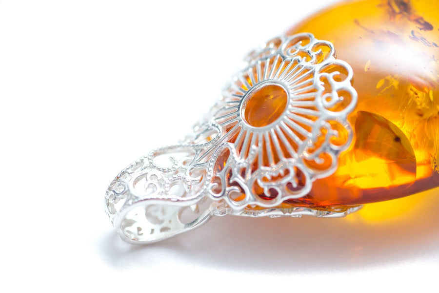 Art Nouveau Pear Drop Amber Pendant
