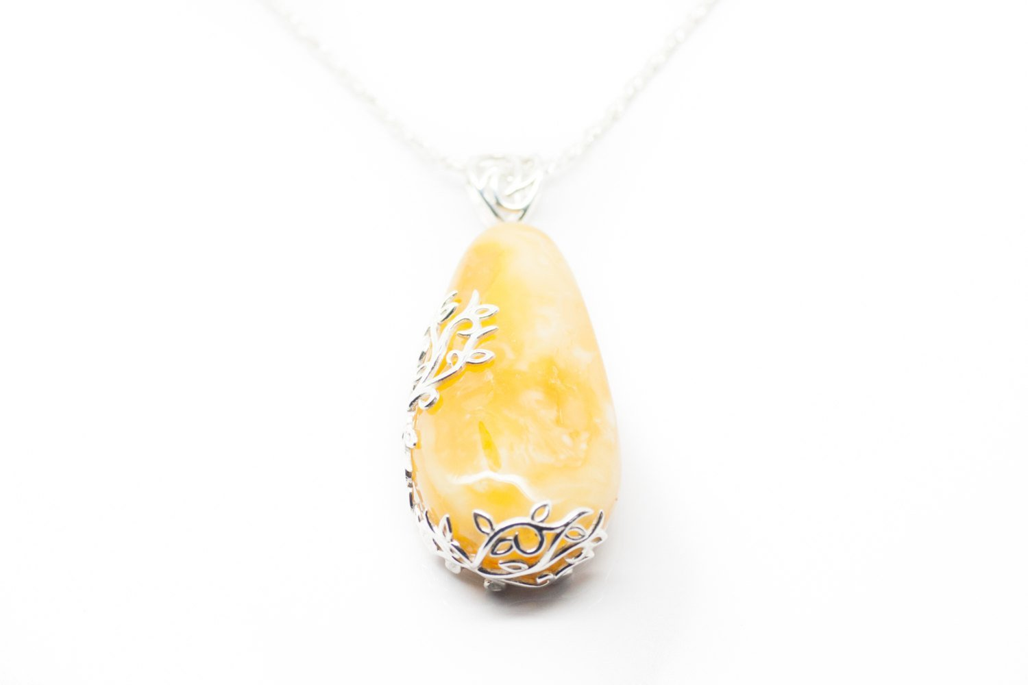 Baltic Beauty Pendant Butterscotch Amber Floral Pendant