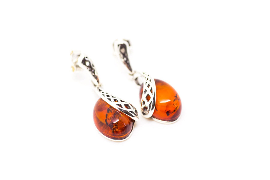 Celtic Pattern Amber Earrings