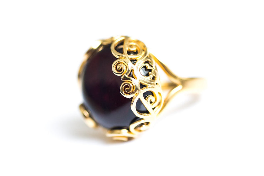Cherry Amber Gold Plated Ring