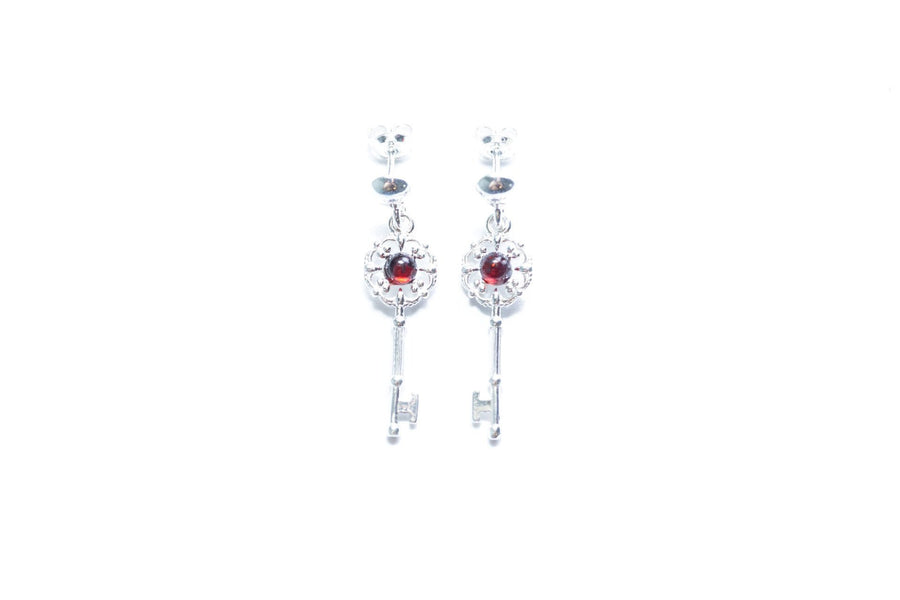 Cherry Amber Key Earrings