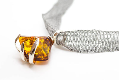 Baltic Beauty Necklaces Contemporary Amber & Titanium Pendant