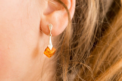 Baltic Beauty Earrings Cubic Amber Earrings
