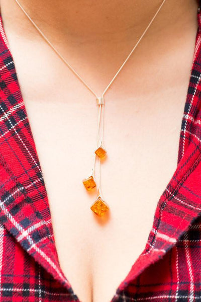 Baltic Beauty Necklaces Cubic Amber Y Necklace