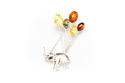 Baltic Beauty Brooches Cute Elephant & Balloons Brooch