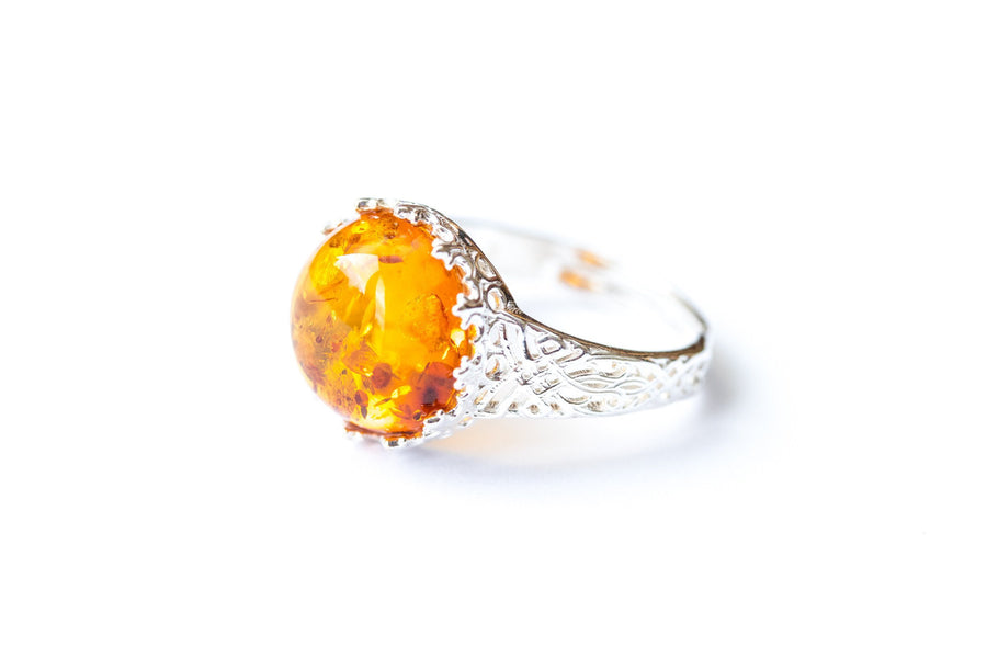 Princess Crown Amber Ring