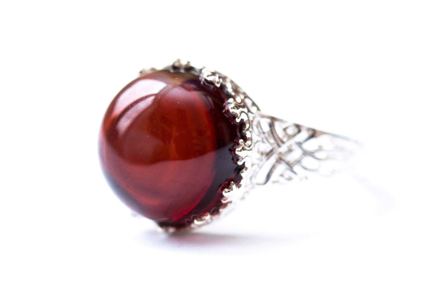 Princess Crown Cherry Amber Ring