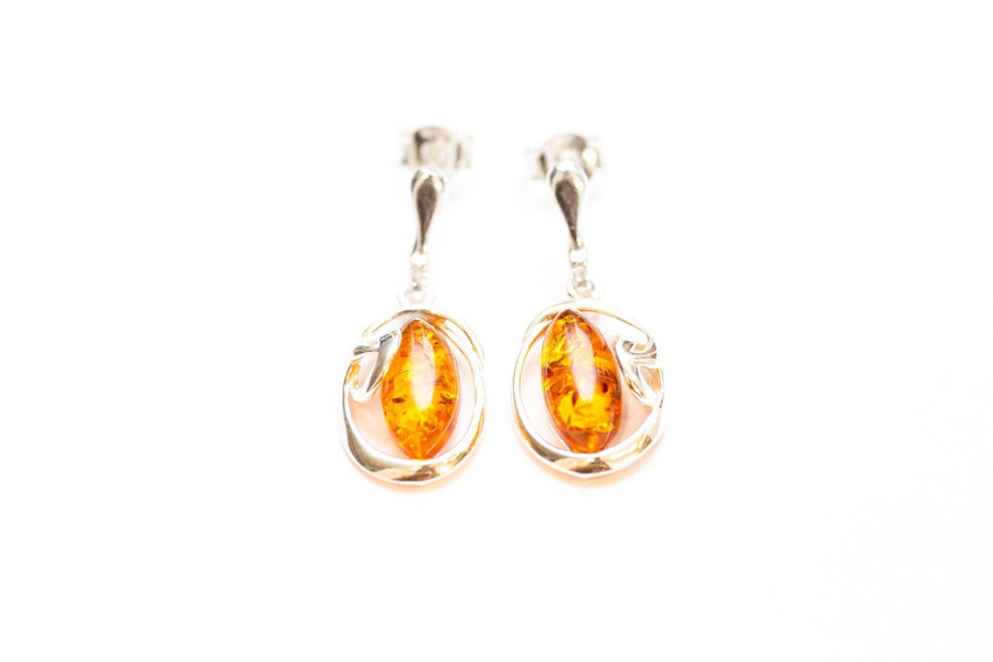 Dainty Drop Amber Earrings