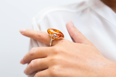 Baltic Beauty Rings Daisy Amber and Silver Ring