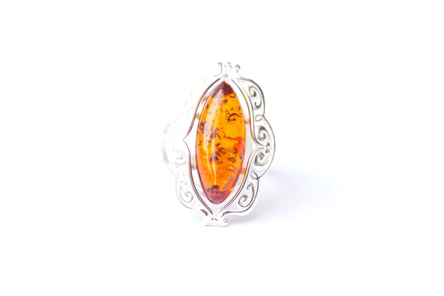 Decorative Victorian Baltic Amber Ring
