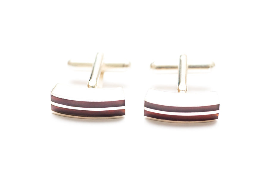 Double Stripe Amber Cufflinks
