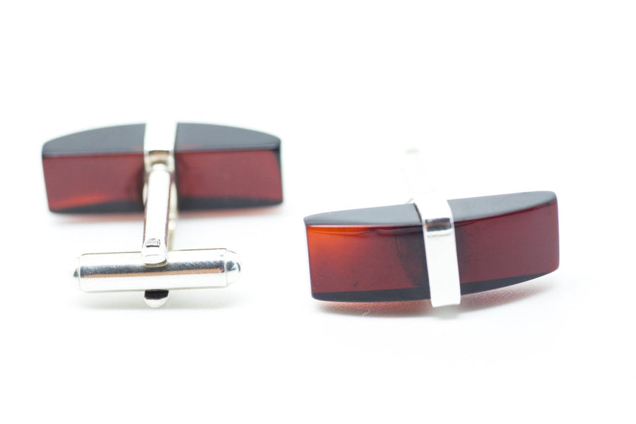 Elegant Red Amber Cufflinks