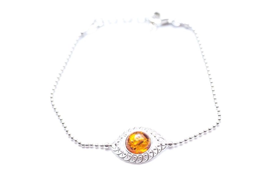 Evileye Amber and Silver Bracelet
