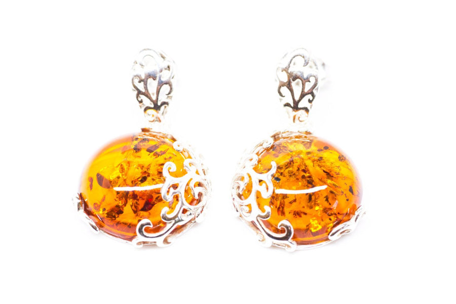 Fiery Amber Filigree Dangle Earrings