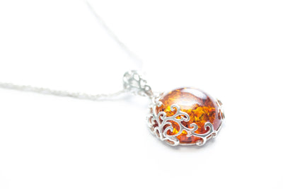 Baltic Beauty Pendant Fiery Amber Filigree Pendant