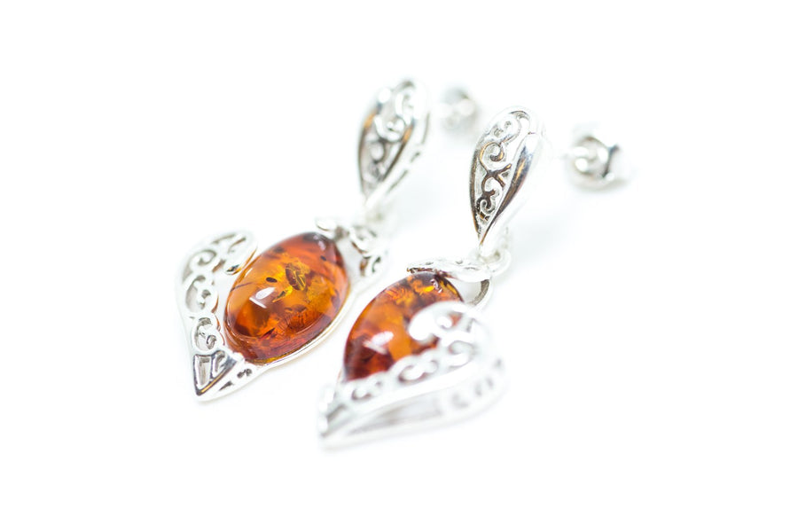 Filigree Heart Baltic Amber Earrings