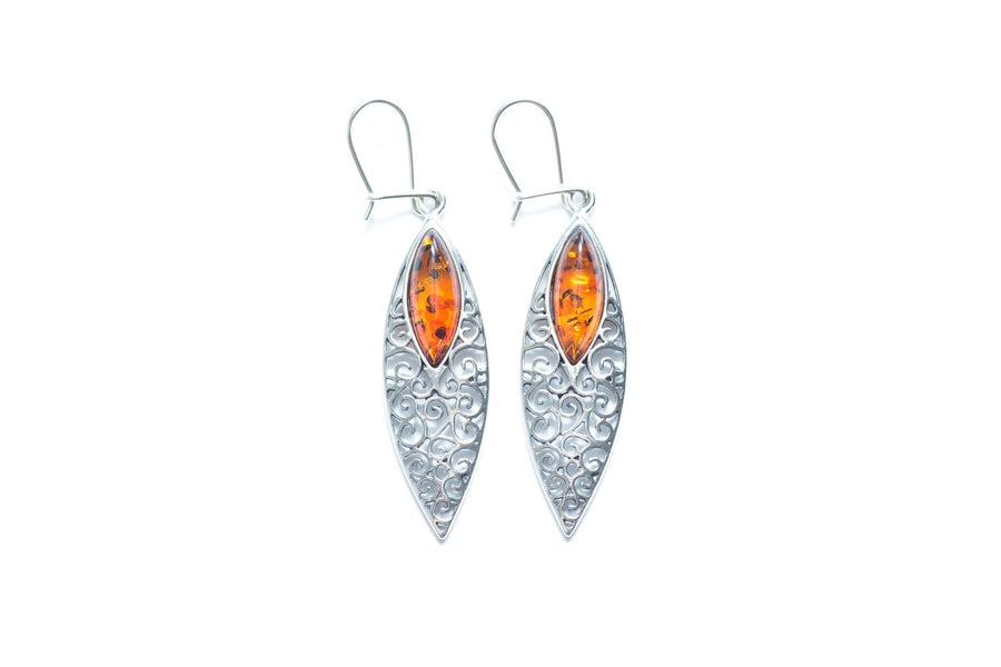 Filigree Pattern Amber Earrings