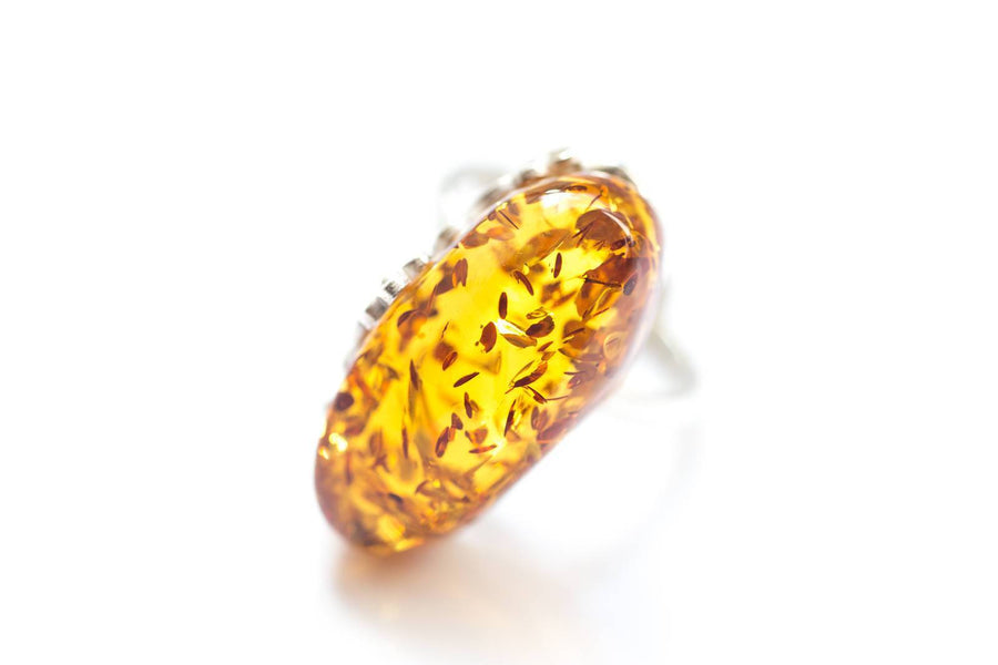 Floral Baltic Amber Ring