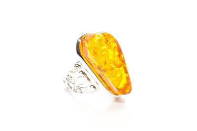 Baltic Beauty Rings Floral Band Amber Ring