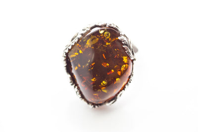 Baltic Beauty Rings Floral Frame Amber Ring