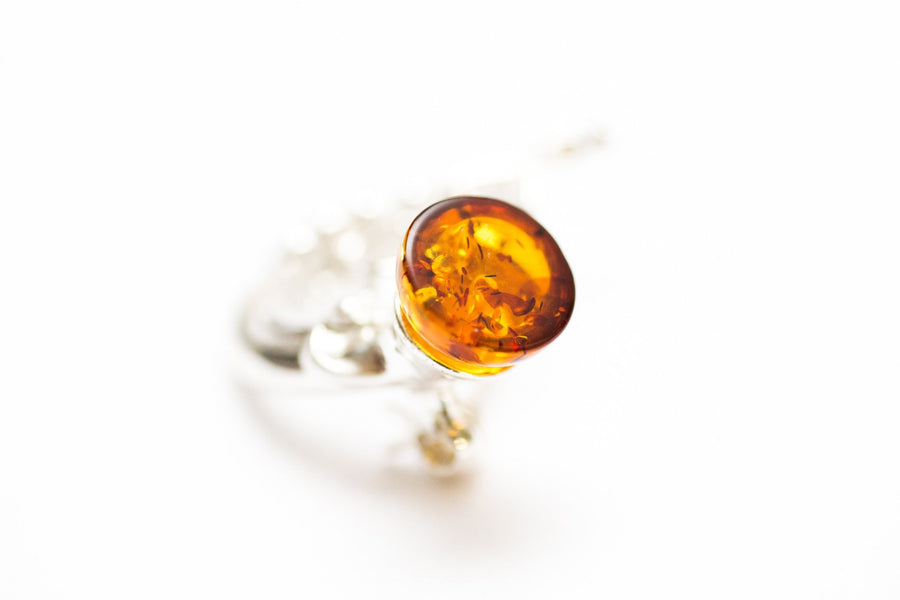 French Horn Amber Brooch