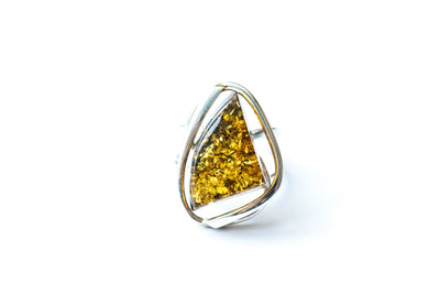 Baltic Beauty Rings Geometric Green Amber Ring