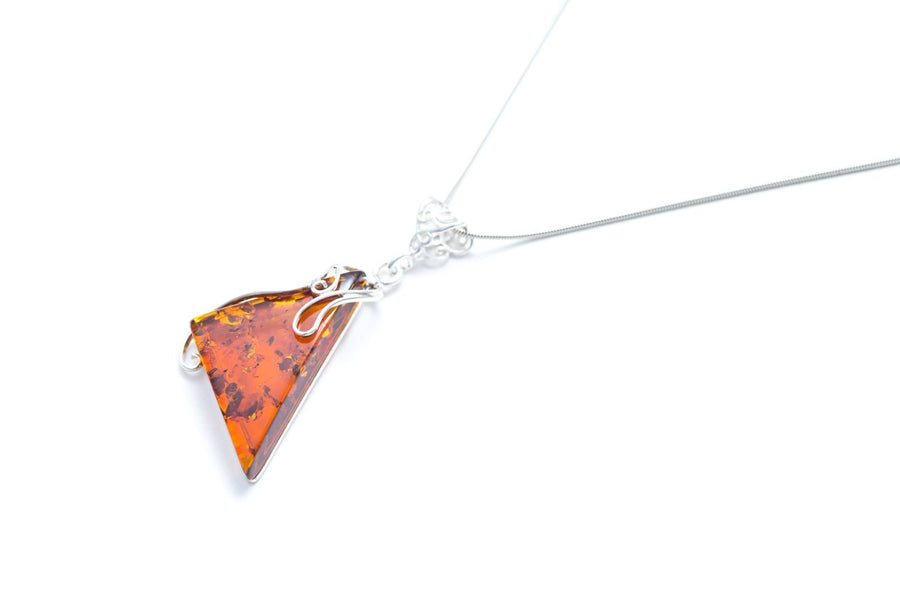 Geometric Triangle Amber Statement Pendant
