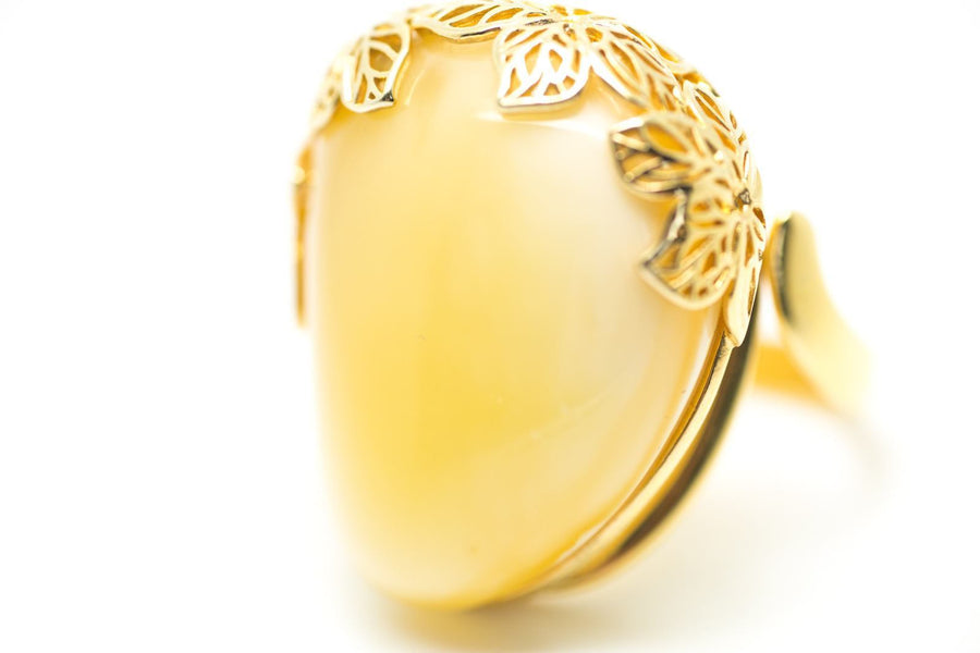 Gold Plated Butterscotch Amber Ring