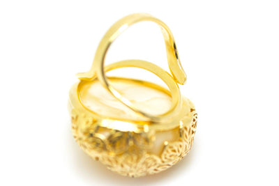 Baltic Beauty Rings Gold Plated Butterscotch Amber Ring