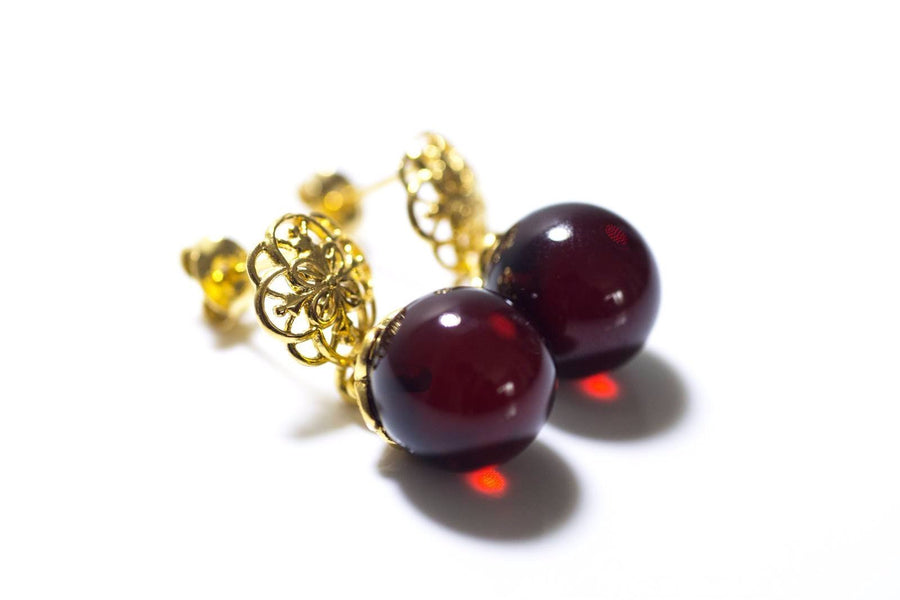 Gold Plated Cherry Amber Earrings