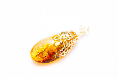 Baltic Beauty Pendant Gold Plated Floral Amber Pendant