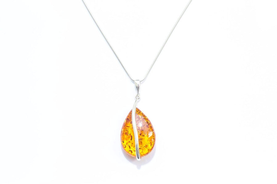 Golden Amber and Silver Pendant