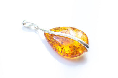 Baltic Beauty Pendant Golden Amber and Silver Pendant