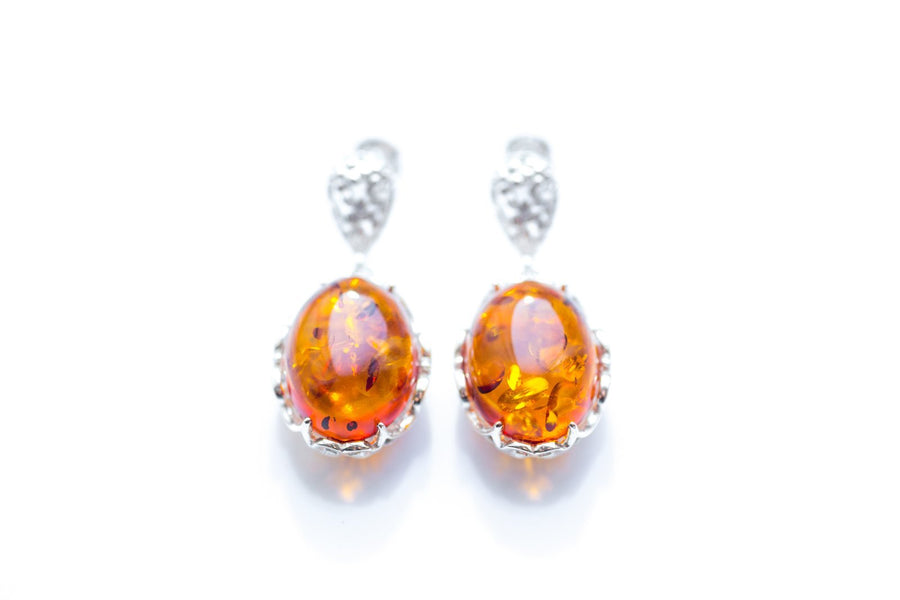 Golden Amber Decorative Earrings